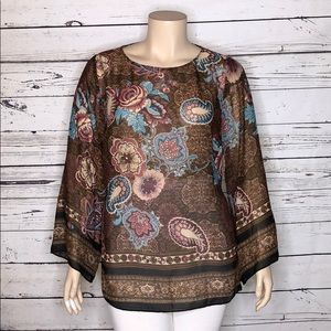 Coldwater Creek 18W Brown Floral Tie Waist Blouse